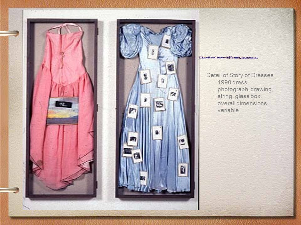 Detail of Story of Dresses 1990 dress, photograph, drawing, string, glass box.