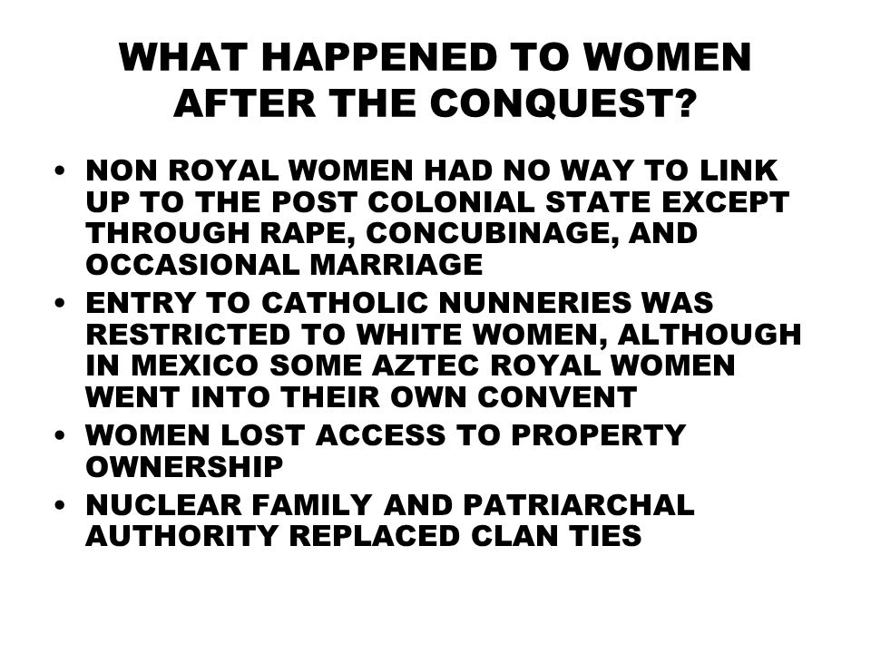 WHAT HAPPENED TO WOMEN AFTER THE CONQUEST.