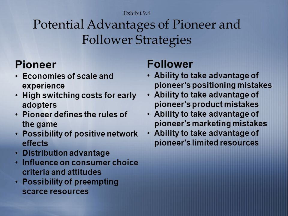 Exhibit 9.4 Potential Advantages of Pioneer and Follower Strategies Pioneer Economies of scale and experience High switching costs for early adopters Pioneer defines the rules of the game Possibility of positive network effects Distribution advantage Influence on consumer choice criteria and attitudes Possibility of preempting scarce resources Follower Ability to take advantage of pioneers positioning mistakes Ability to take advantage of pioneers product mistakes Ability to take advantage of pioneers marketing mistakes Ability to take advantage of pioneers limited resources