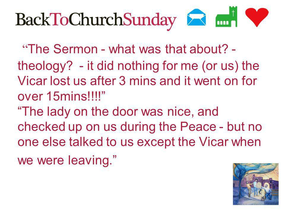 The Sermon - what was that about. - theology.