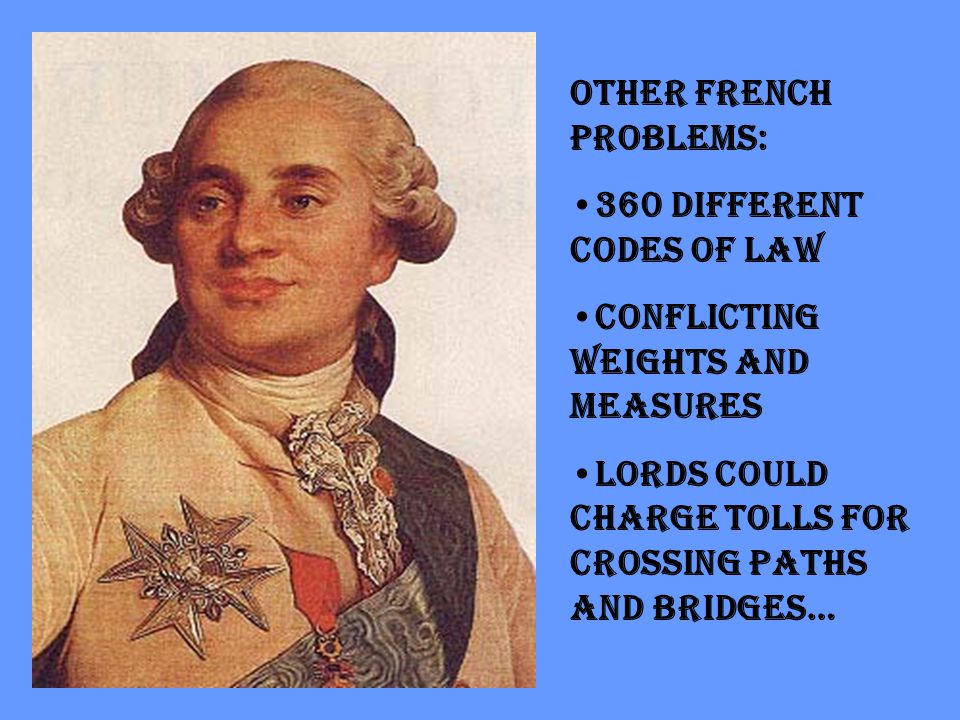 Other French Problems: 360 different codes of law Conflicting weights and measures Lords could charge tolls for crossing paths and bridges…