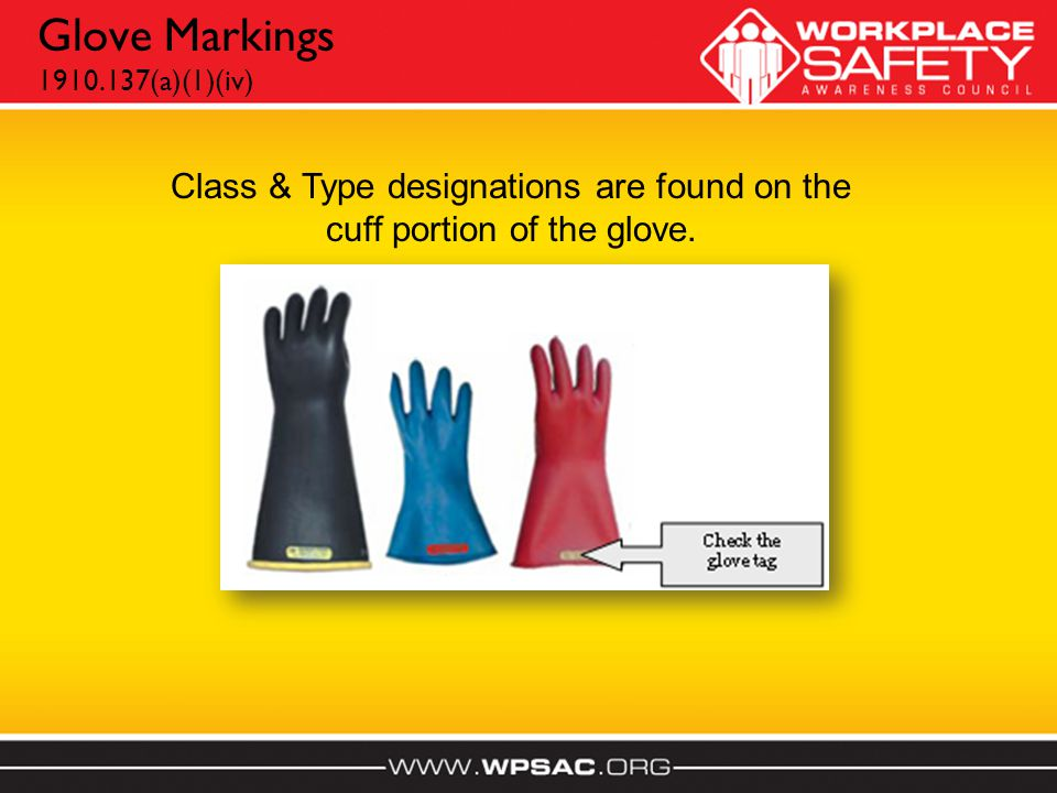 Glove Markings 1910.137(a)(1)(iv) Class & Type designations are found on the cuff portion of the glove.