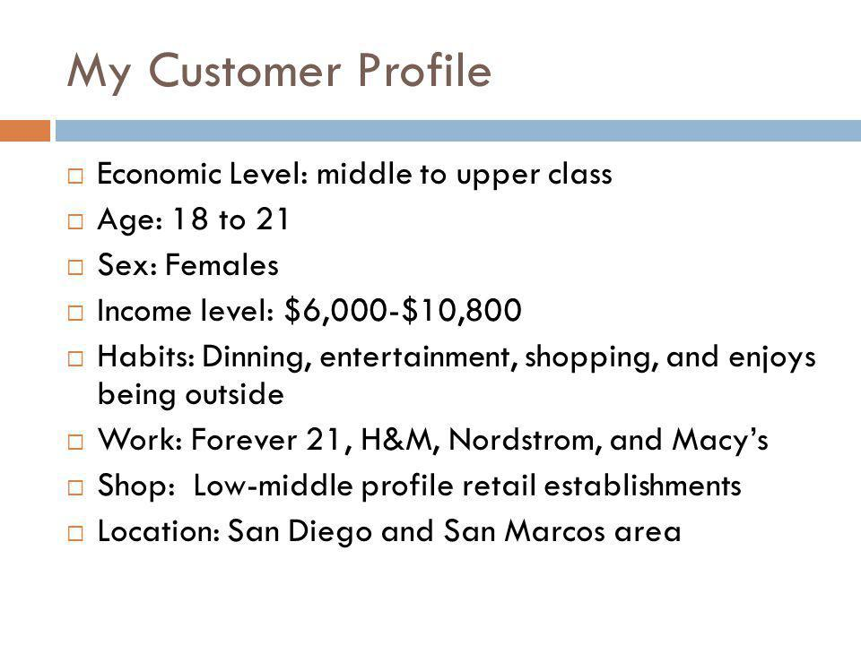 My Customer Profile Economic Level: middle to upper class Age: 18 to 21 Sex: Females Income level: $6,000-$10,800 Habits: Dinning, entertainment, shopping, and enjoys being outside Work: Forever 21, H&M, Nordstrom, and Macys Shop: Low-middle profile retail establishments Location: San Diego and San Marcos area