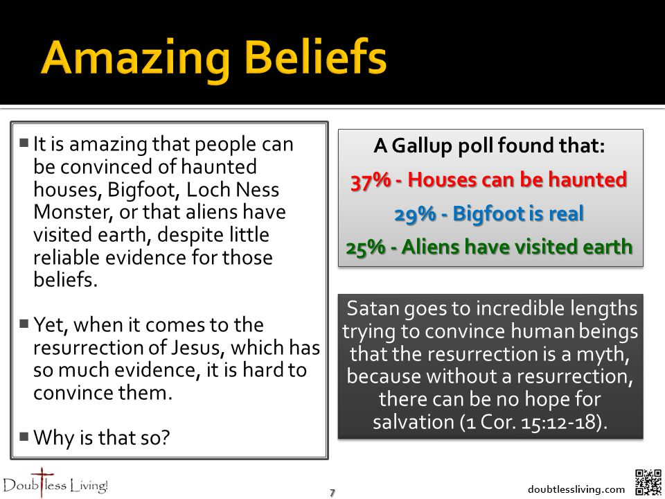 7 doubtlessliving.com It is amazing that people can be convinced of haunted houses, Bigfoot, Loch Ness Monster, or that aliens have visited earth, despite little reliable evidence for those beliefs.