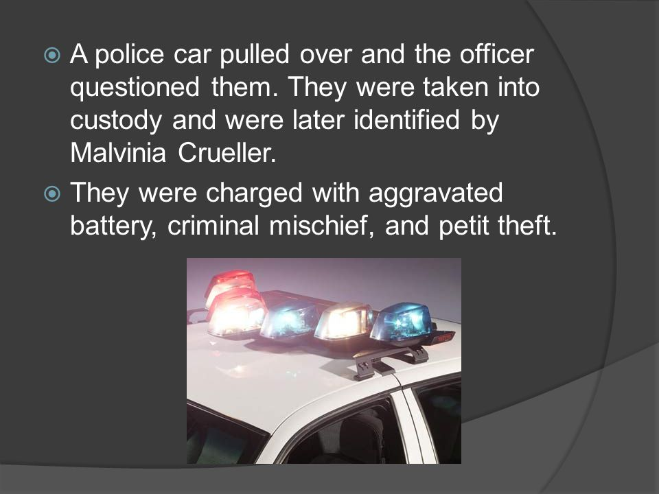 A police car pulled over and the officer questioned them.