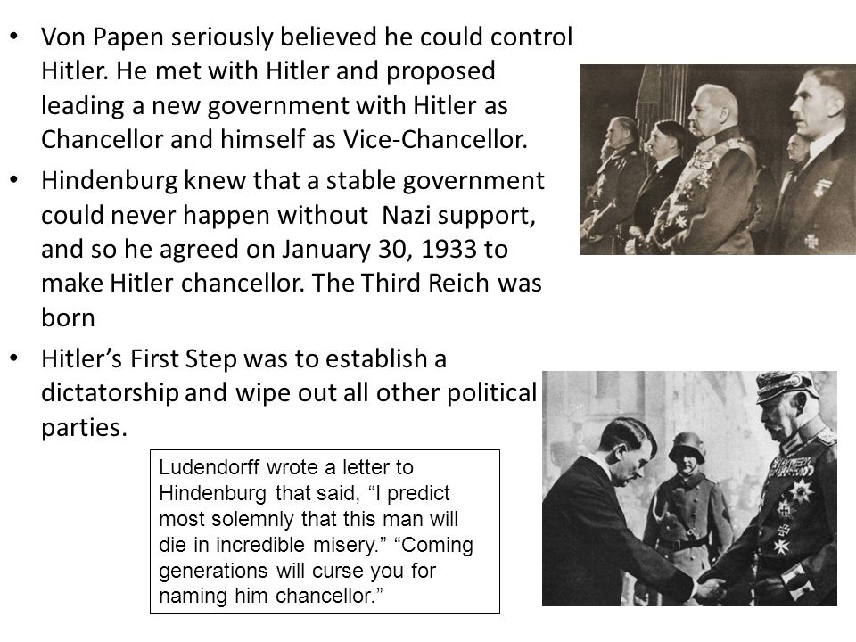 Von Papen seriously believed he could control Hitler.