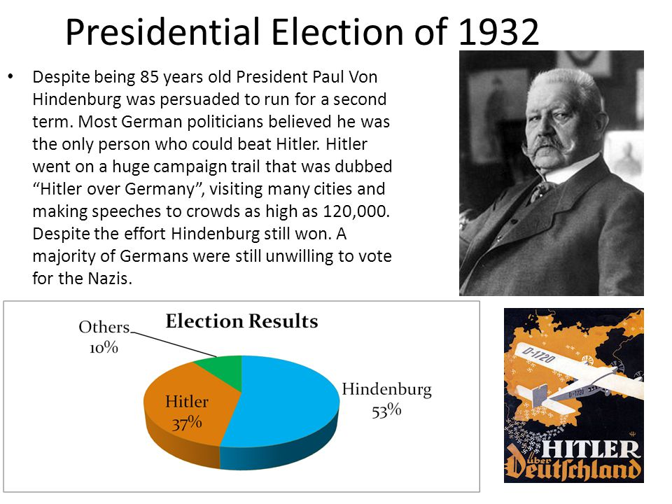 Presidential Election of 1932 Despite being 85 years old President Paul Von Hindenburg was persuaded to run for a second term.