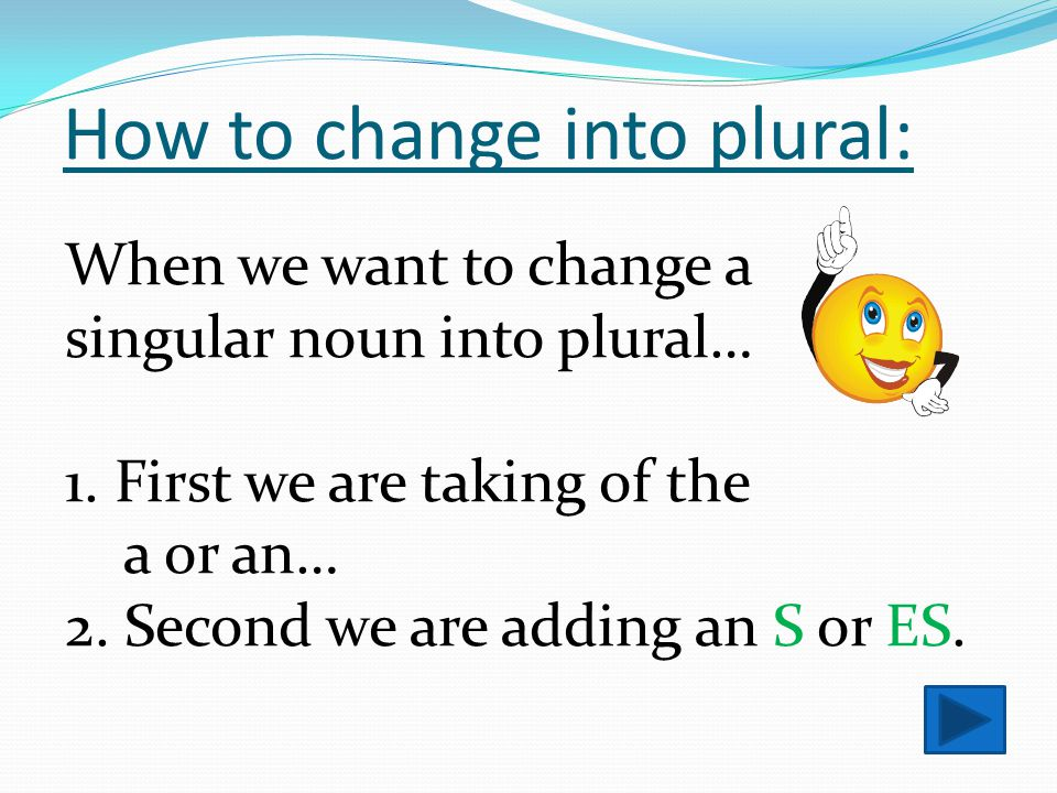 The aim of the lesson: To be able to change a noun into plural.