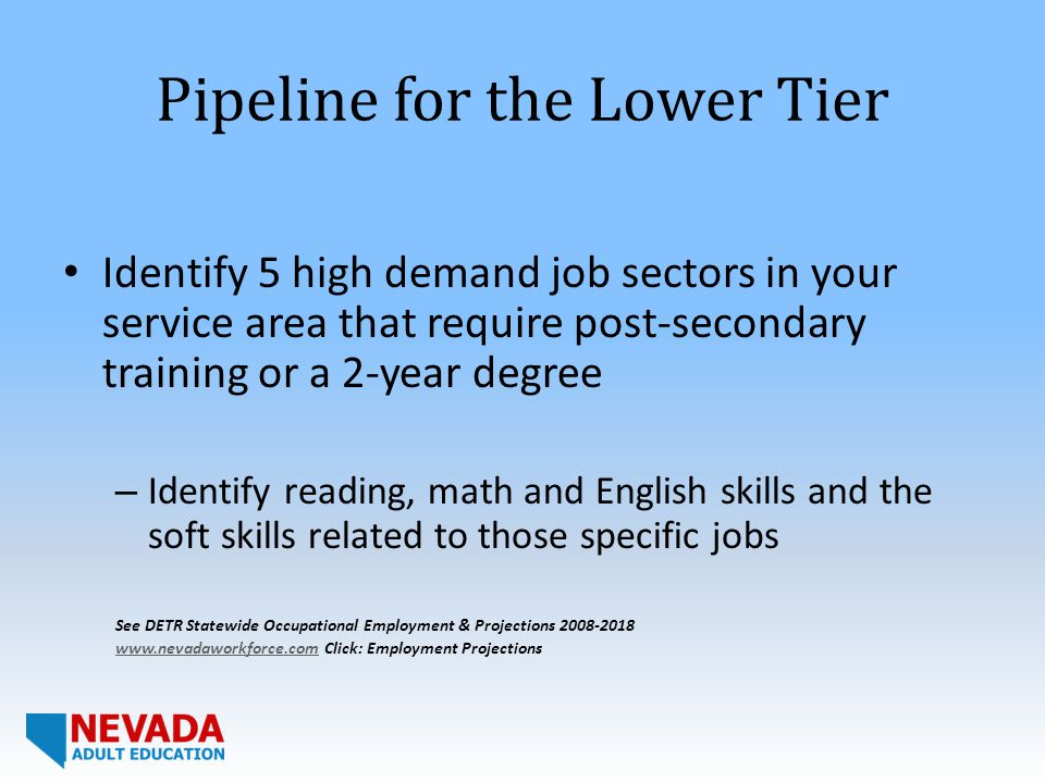 Pipeline for the Lower Tier Identify 5 high demand job sectors in your service area that require post-secondary training or a 2-year degree – Identify reading, math and English skills and the soft skills related to those specific jobs See DETR Statewide Occupational Employment & Projections 2008-2018 www.nevadaworkforce.comwww.nevadaworkforce.com Click: Employment Projections