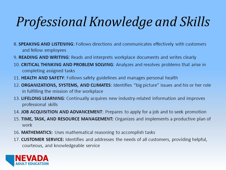 Professional Knowledge and Skills 8.