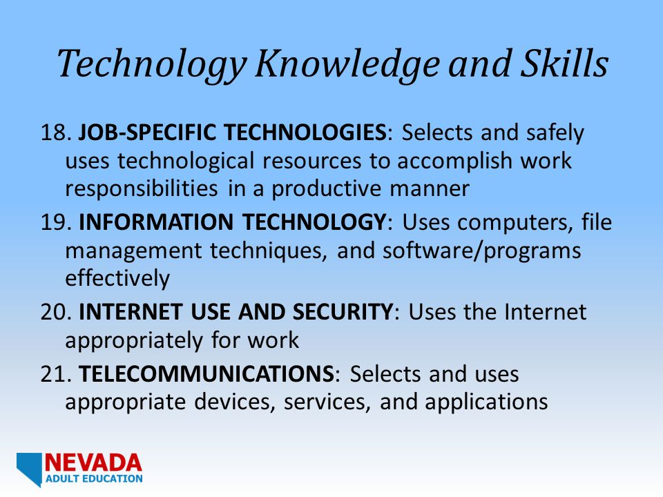 Technology Knowledge and Skills 18.