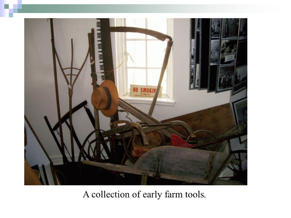 A collection of early farm tools.