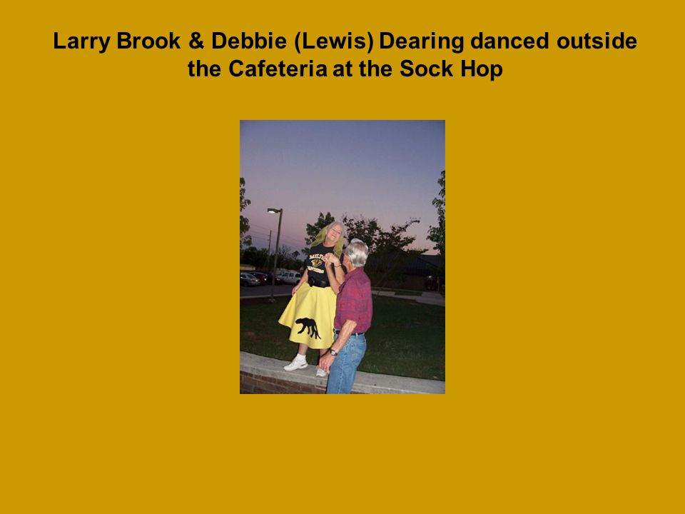 Debbie (Lewis) Dearing was having so much fun she even danced on the railing outside of the cafeteria during the Sock Hop