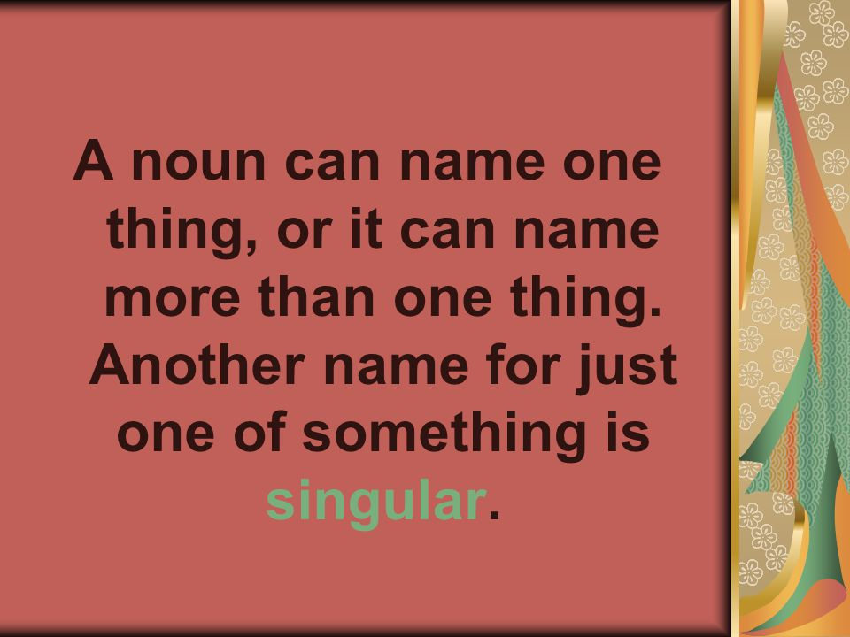 A noun can name one thing, or it can name more than one thing.