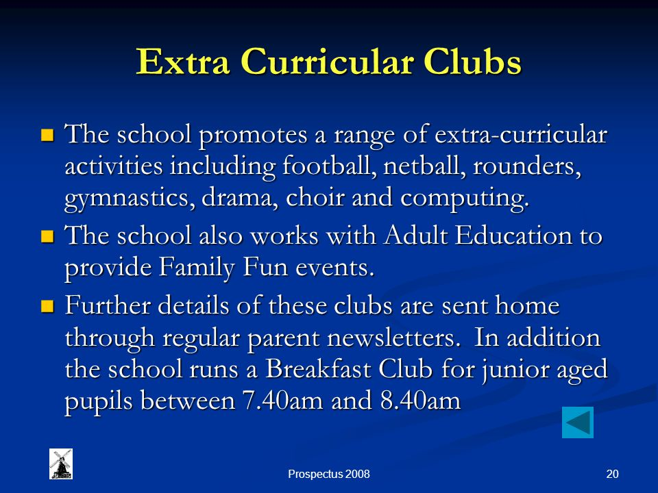 20Prospectus 2008 Extra Curricular Clubs The school promotes a range of extra-curricular activities including football, netball, rounders, gymnastics, drama, choir and computing.