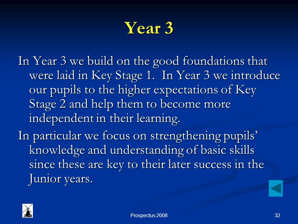 32Prospectus 2008 Year 3 In Year 3 we build on the good foundations that were laid in Key Stage 1.