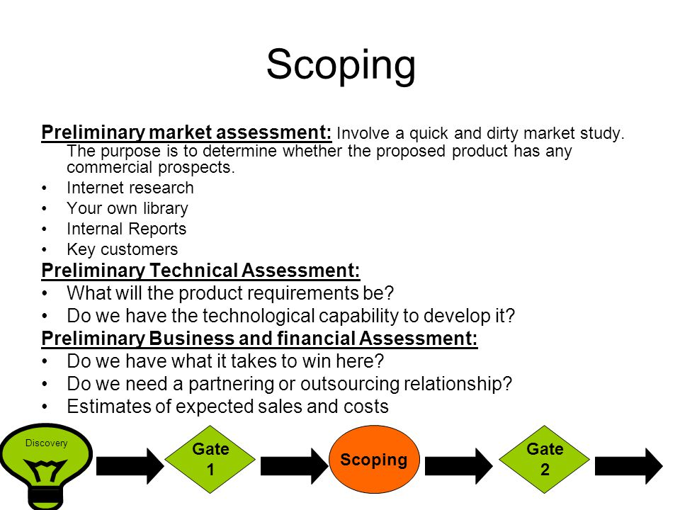 Scoping Preliminary market assessment: Involve a quick and dirty market study.