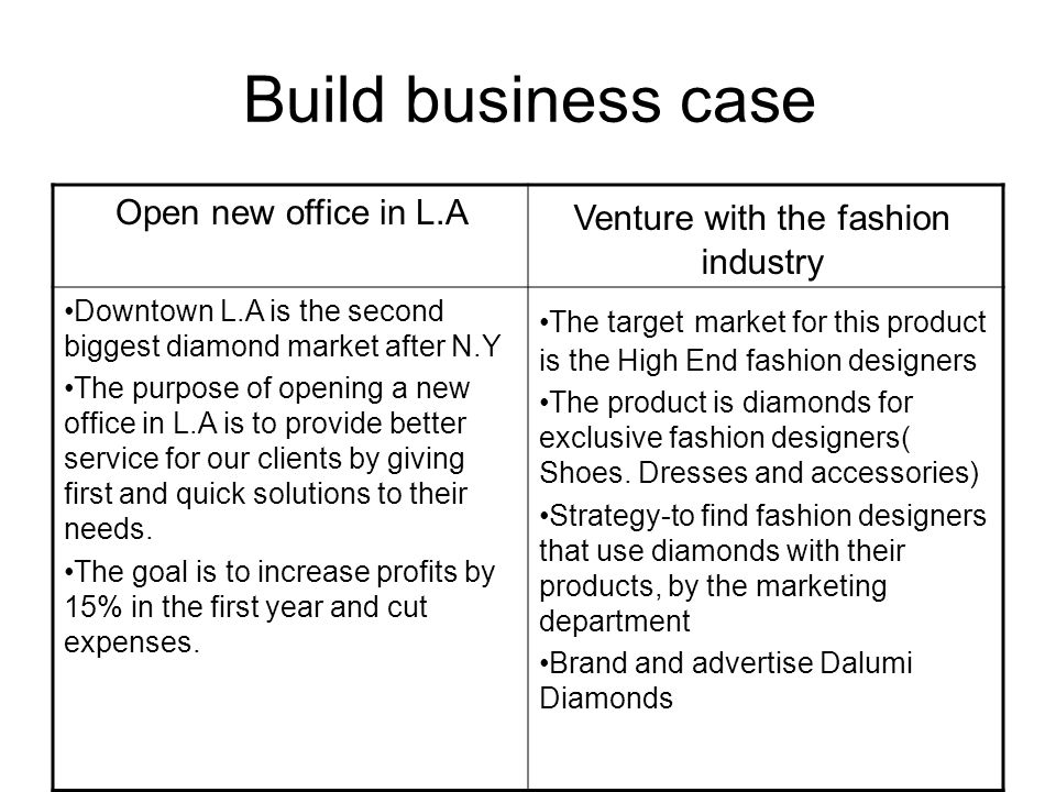 Build business case Venture with the fashion industry Open new office in L.A The target market for this product is the High End fashion designers The product is diamonds for exclusive fashion designers( Shoes.