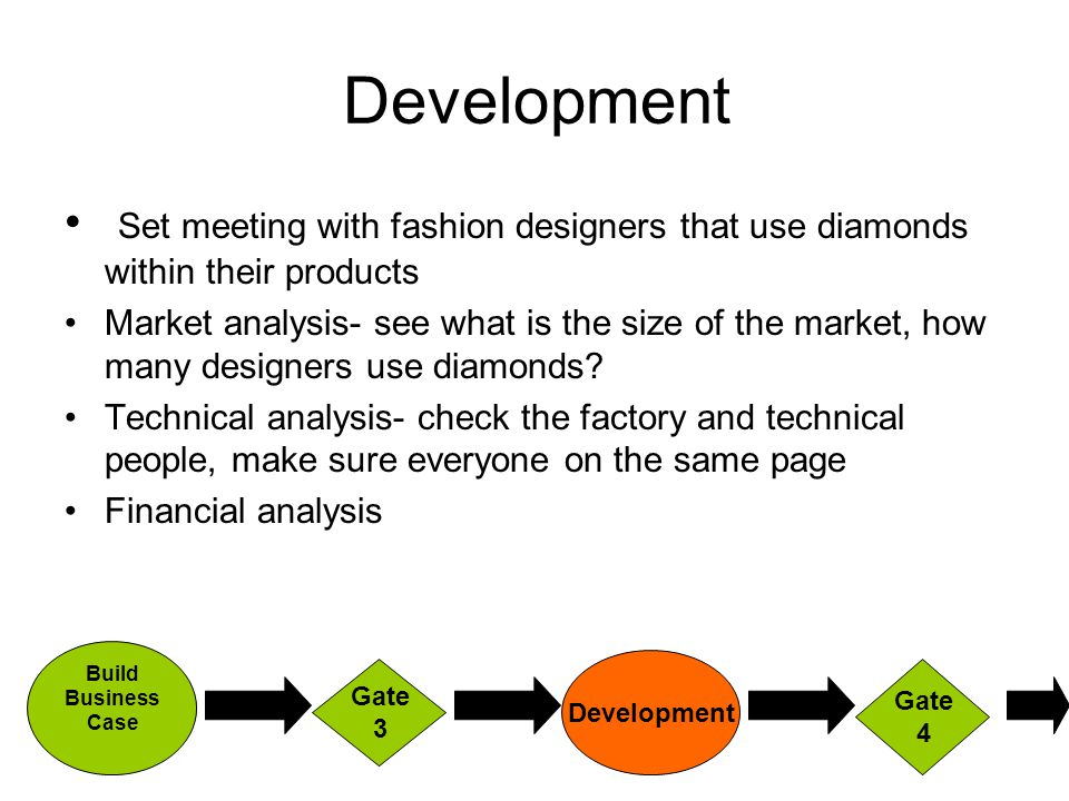 Development Set meeting with fashion designers that use diamonds within their products Market analysis- see what is the size of the market, how many designers use diamonds.