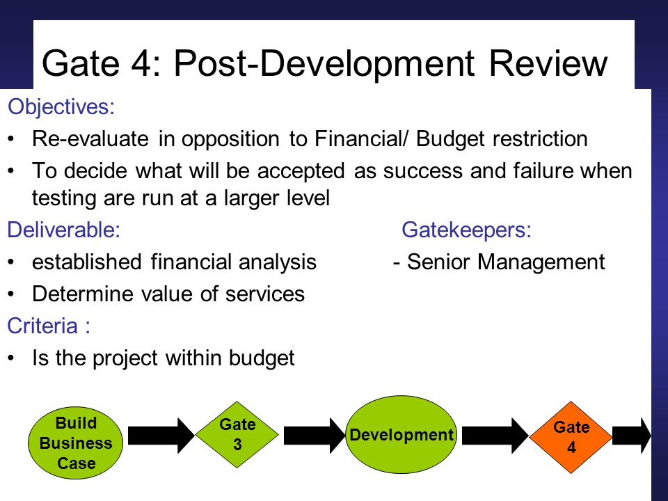 Gate 4: Post-Development Review Objectives: Re-evaluate in opposition to Financial/ Budget restriction To decide what will be accepted as success and failure when testing are run at a larger level Deliverable: Gatekeepers: established financial analysis - Senior Management Determine value of services Criteria : Is the project within budget Build Business Case Gate 3 Development Gate 4