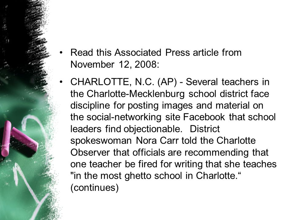 Read this Associated Press article from November 12, 2008: CHARLOTTE, N.C.