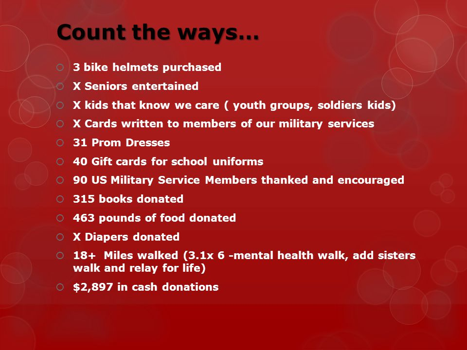 Count the ways… 3 bike helmets purchased X Seniors entertained X kids that know we care ( youth groups, soldiers kids) X Cards written to members of our military services 31 Prom Dresses 40 Gift cards for school uniforms 90 US Military Service Members thanked and encouraged 315 books donated 463 pounds of food donated X Diapers donated 18+ Miles walked (3.1x 6 -mental health walk, add sisters walk and relay for life) $2,897 in cash donations