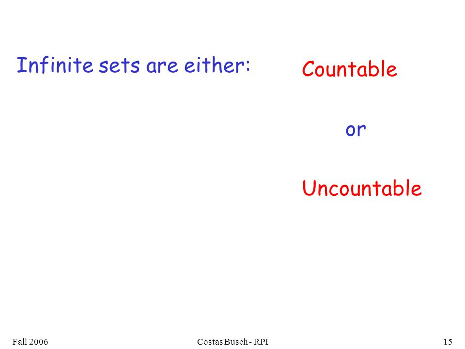Fall 2006Costas Busch - RPI15 Infinite sets are either: Countable or Uncountable
