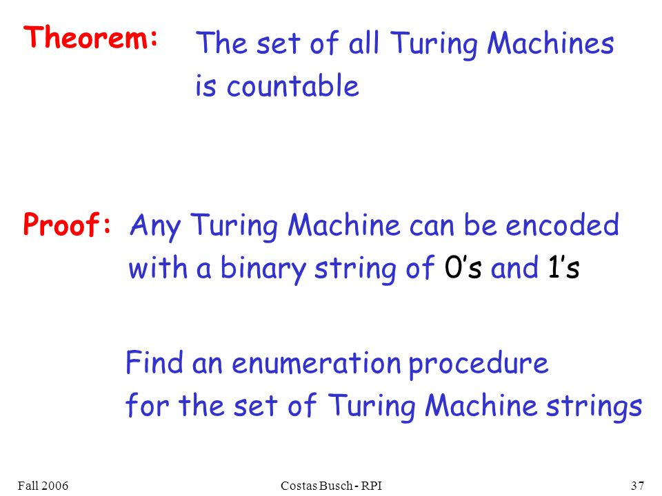 Fall 2006Costas Busch - RPI37 Theorem: The set of all Turing Machines is countable Proof: Find an enumeration procedure for the set of Turing Machine strings Any Turing Machine can be encoded with a binary string of 0s and 1s