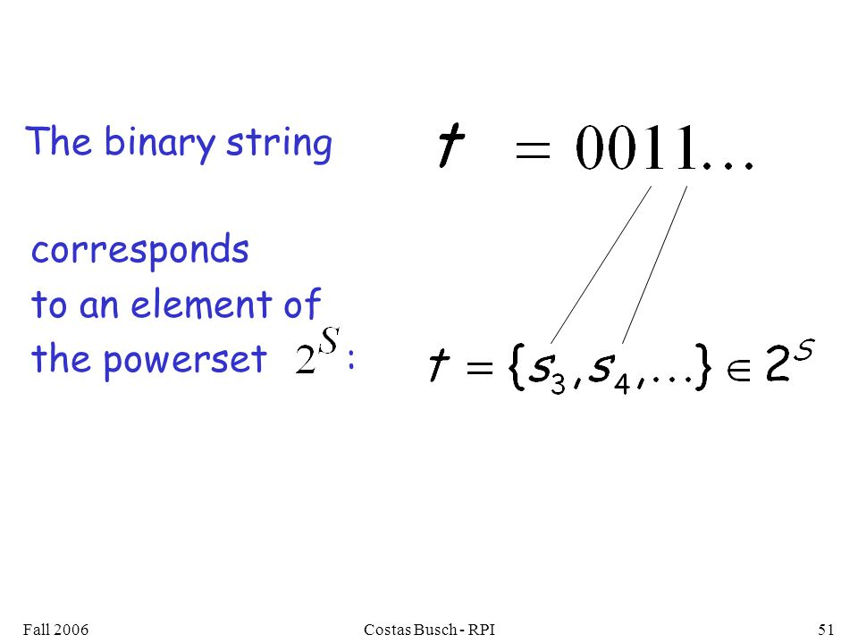 Fall 2006Costas Busch - RPI51 The binary string corresponds to an element of the powerset :