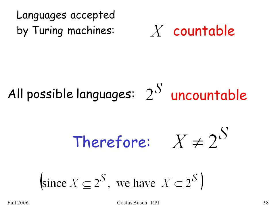 Fall 2006Costas Busch - RPI58 countable uncountable Languages accepted by Turing machines: All possible languages: Therefore: