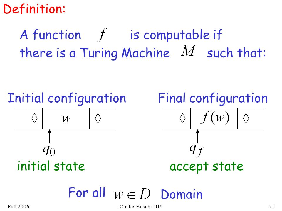Fall 2006Costas Busch - RPI71 Definition: A function is computable if there is a Turing Machine such that: Initial configurationFinal configuration Domain accept stateinitial state For all