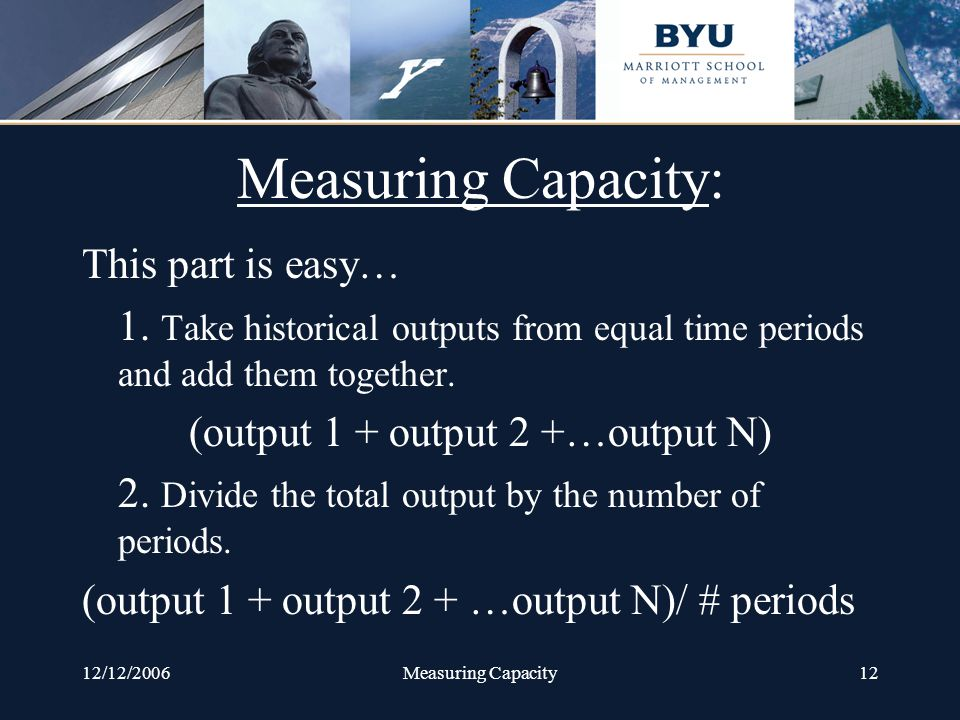 12/12/2006Measuring Capacity12 Measuring Capacity: This part is easy… 1.