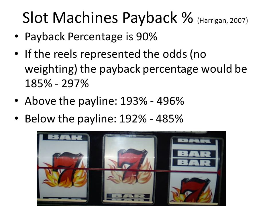 Slot Machines Payback % (Harrigan, 2007) Payback Percentage is 90% If the reels represented the odds (no weighting) the payback percentage would be 185% - 297% Above the payline: 193% - 496% Below the payline: 192% - 485%