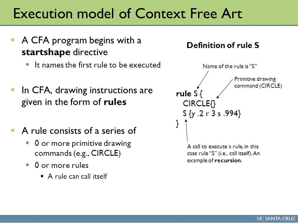 UC SANTA CRUZ Execution model of Context Free Art A CFA program begins with a startshape directive It names the first rule to be executed In CFA, drawing instructions are given in the form of rules A rule consists of a series of 0 or more primitive drawing commands (e.g., CIRCLE) 0 or more rules A rule can call itself rule S { CIRCLE{} S {y.2 r 3 s.994} } Name of the rule is S Primitive drawing command (CIRCLE) A call to execute a rule, in this case rule S (i.e., call itself).