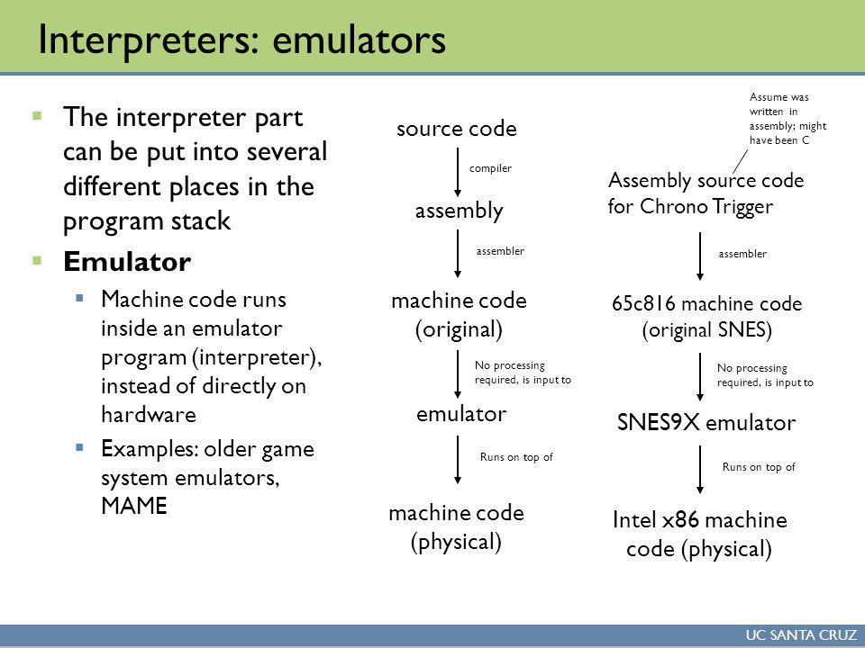 UC SANTA CRUZ Interpreters: emulators The interpreter part can be put into several different places in the program stack Emulator Machine code runs inside an emulator program (interpreter), instead of directly on hardware Examples: older game system emulators, MAME source code assembly machine code (original) compiler assembler emulator machine code (physical) No processing required, is input to Runs on top of Assembly source code for Chrono Trigger 65c816 machine code (original SNES) assembler SNES9X emulator Intel x86 machine code (physical) No processing required, is input to Runs on top of Assume was written in assembly; might have been C
