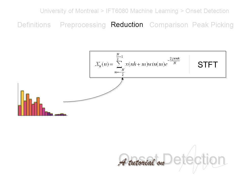 Onset Detection University of Montreal > IFT6080 Machine Learning > Onset Detection A tutorial on Definitions PreprocessingReductionComparisonPeak Picking STFT Reduction