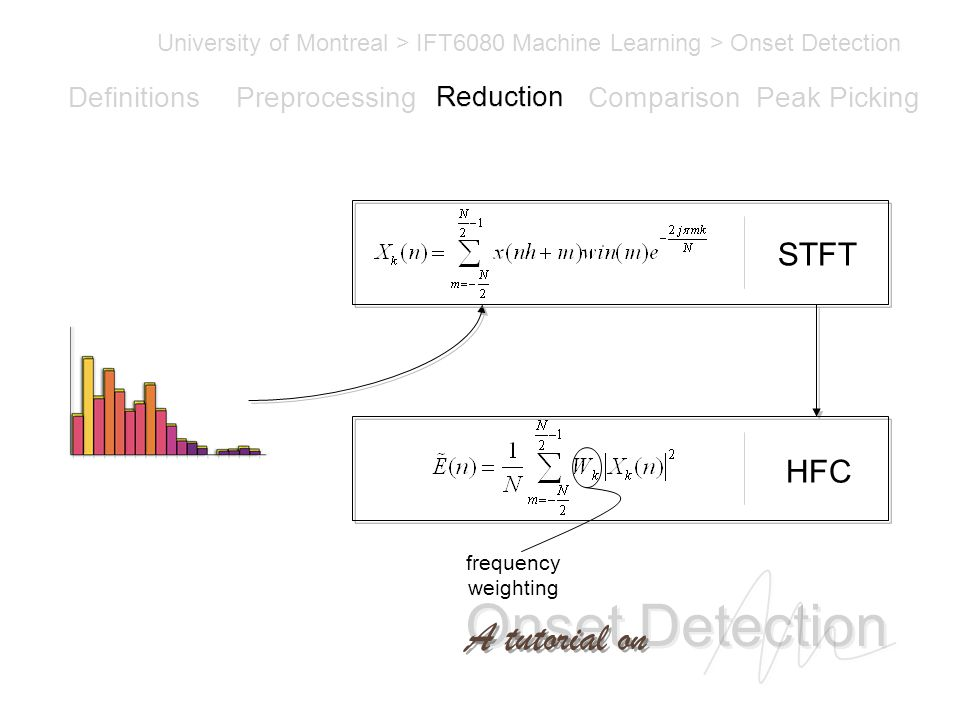 Onset Detection University of Montreal > IFT6080 Machine Learning > Onset Detection A tutorial on Definitions PreprocessingReductionComparisonPeak Picking STFT HFC frequency weighting Reduction