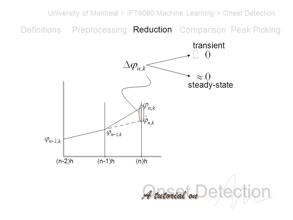 Onset Detection University of Montreal > IFT6080 Machine Learning > Onset Detection A tutorial on Definitions PreprocessingReductionComparisonPeak Picking (n-1)h(n-2)h(n)h transient steady-state Reduction
