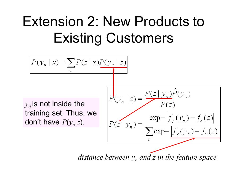 Extension 2: New Products to Existing Customers y n is not inside the training set.
