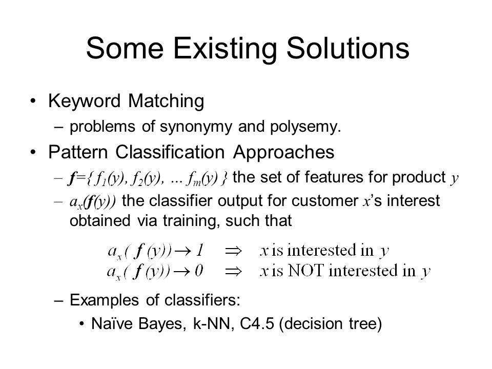 Some Existing Solutions Keyword Matching –problems of synonymy and polysemy.