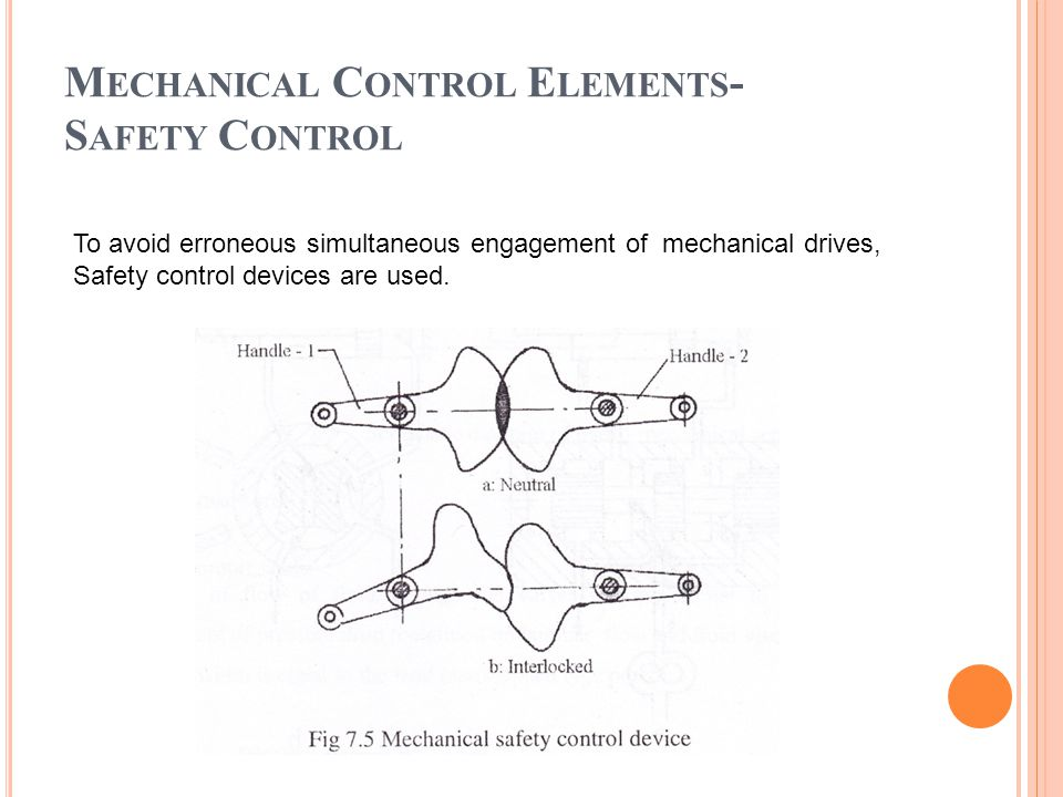 M ECHANICAL C ONTROL E LEMENTS - S AFETY C ONTROL To avoid erroneous simultaneous engagement of mechanical drives, Safety control devices are used.