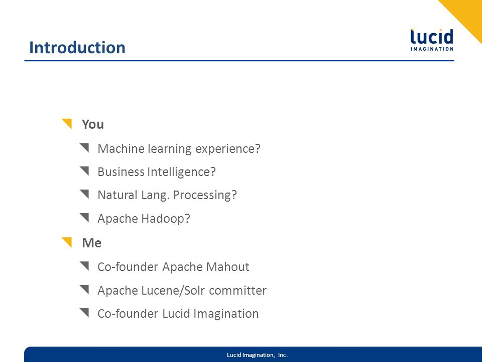 Lucid Imagination, Inc. Introduction You Machine learning experience.