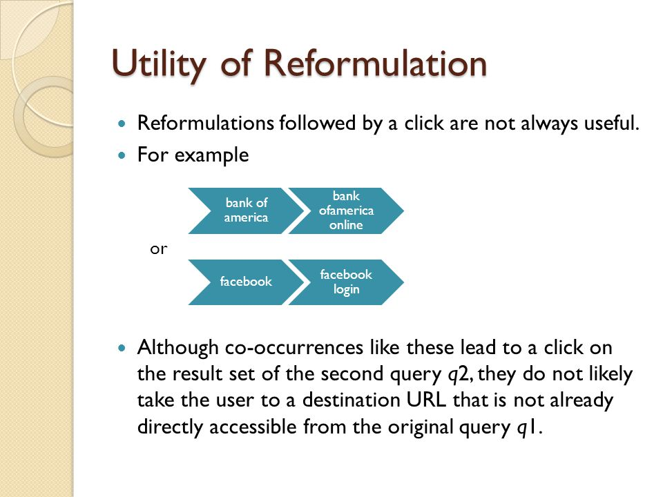 Utility of Reformulation Reformulations followed by a click are not always useful.
