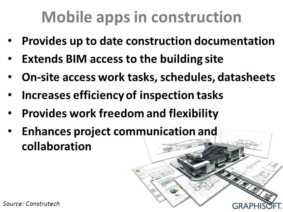 Mobile apps in construction Provides up to date construction documentation Extends BIM access to the building site On-site access work tasks, schedules, datasheets Increases efficiency of inspection tasks Provides work freedom and flexibility Enhances project communication and collaboration Source: Construtech