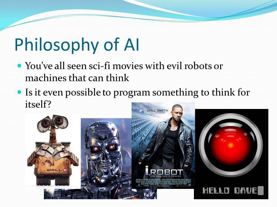 Philosophy of AI Youve all seen sci-fi movies with evil robots or machines that can think Is it even possible to program something to think for itself