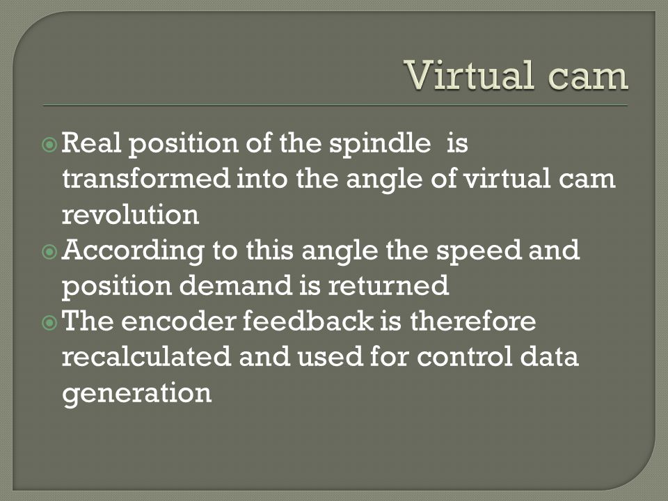 Real position of the spindle is transformed into the angle of virtual cam revolution According to this angle the speed and position demand is returned The encoder feedback is therefore recalculated and used for control data generation