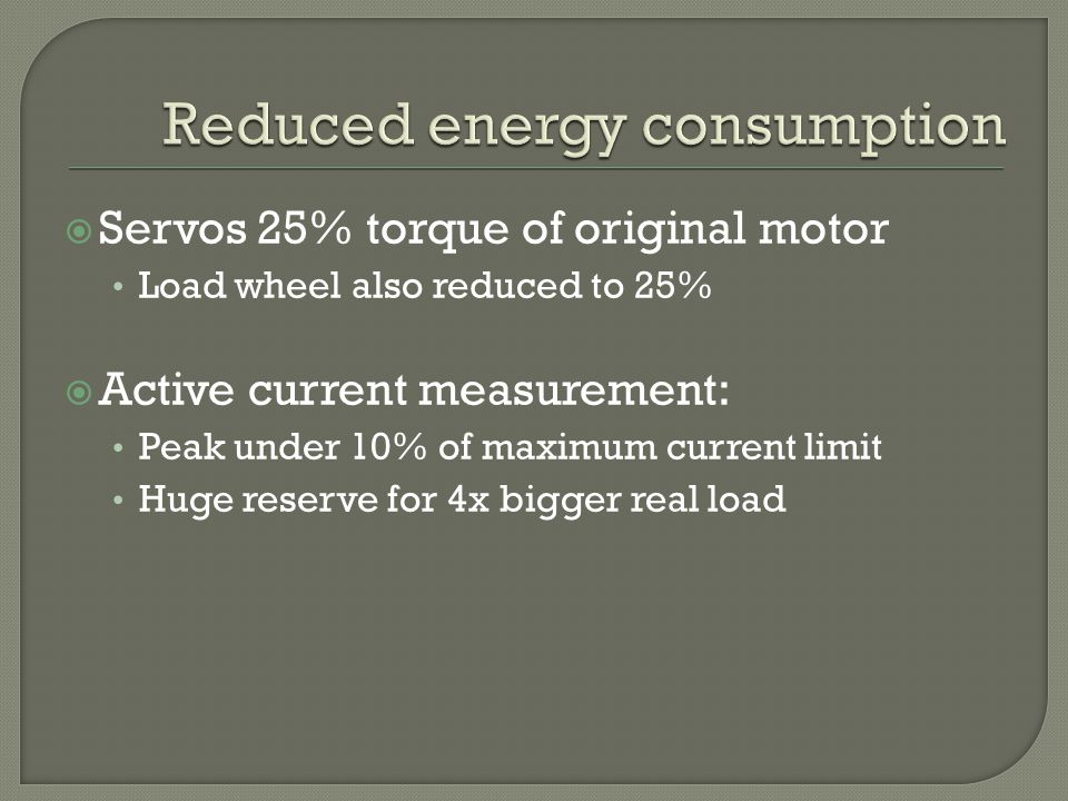 Servos 25% torque of original motor Load wheel also reduced to 25% Active current measurement: Peak under 10% of maximum current limit Huge reserve for 4x bigger real load