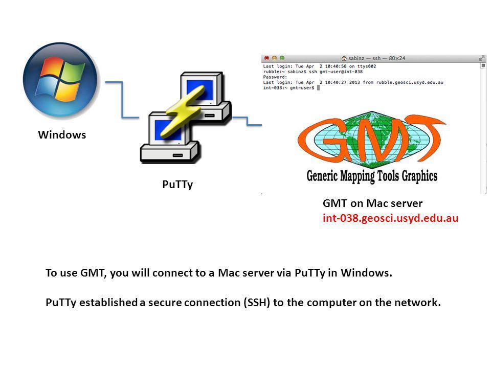 Connecting to GMT machine via Windows 7  Windows PuTTy GMT
