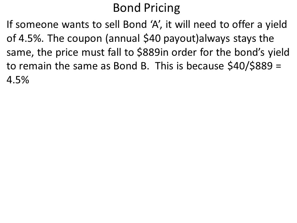 Bond Pricing If someone wants to sell Bond A, it will need to offer a yield of 4.5%.