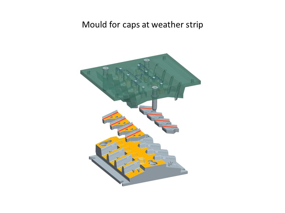 Mould for caps at weather strip
